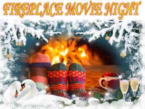 Fireplace Movie Night